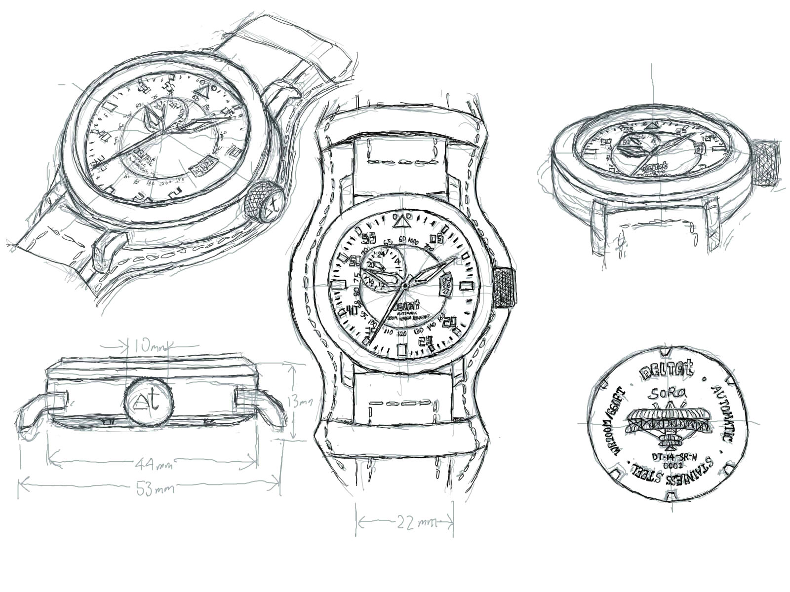 drawing miyota borealis diver store porto cascais cathedral lume automatic dial black date watches hands watch santo