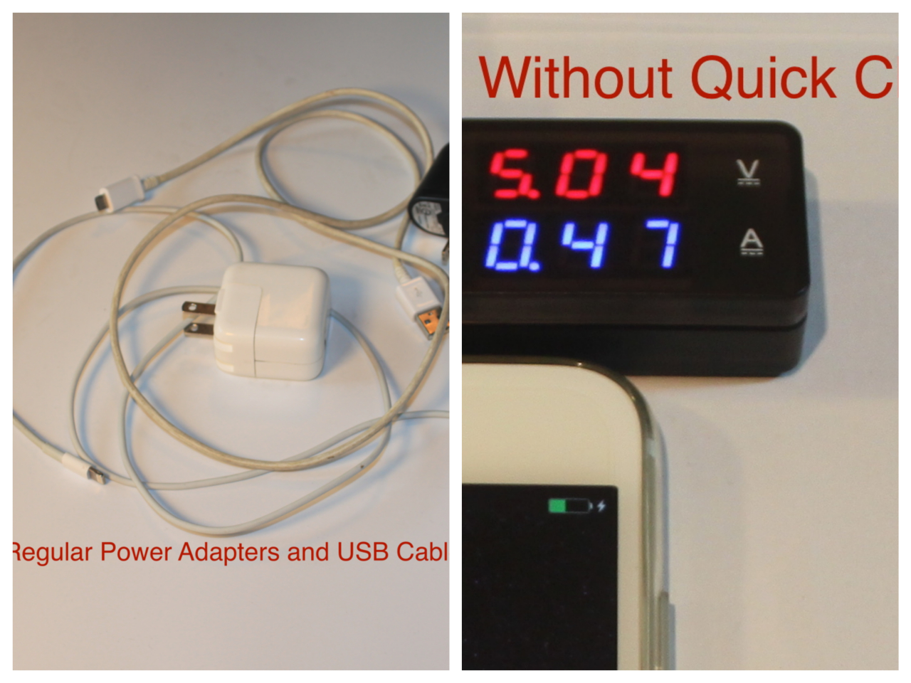 iphone quick charge. others adapters and usb cable can only provide iphone 6/6+ with a 0.47 amp charging current. iphone quick charge e