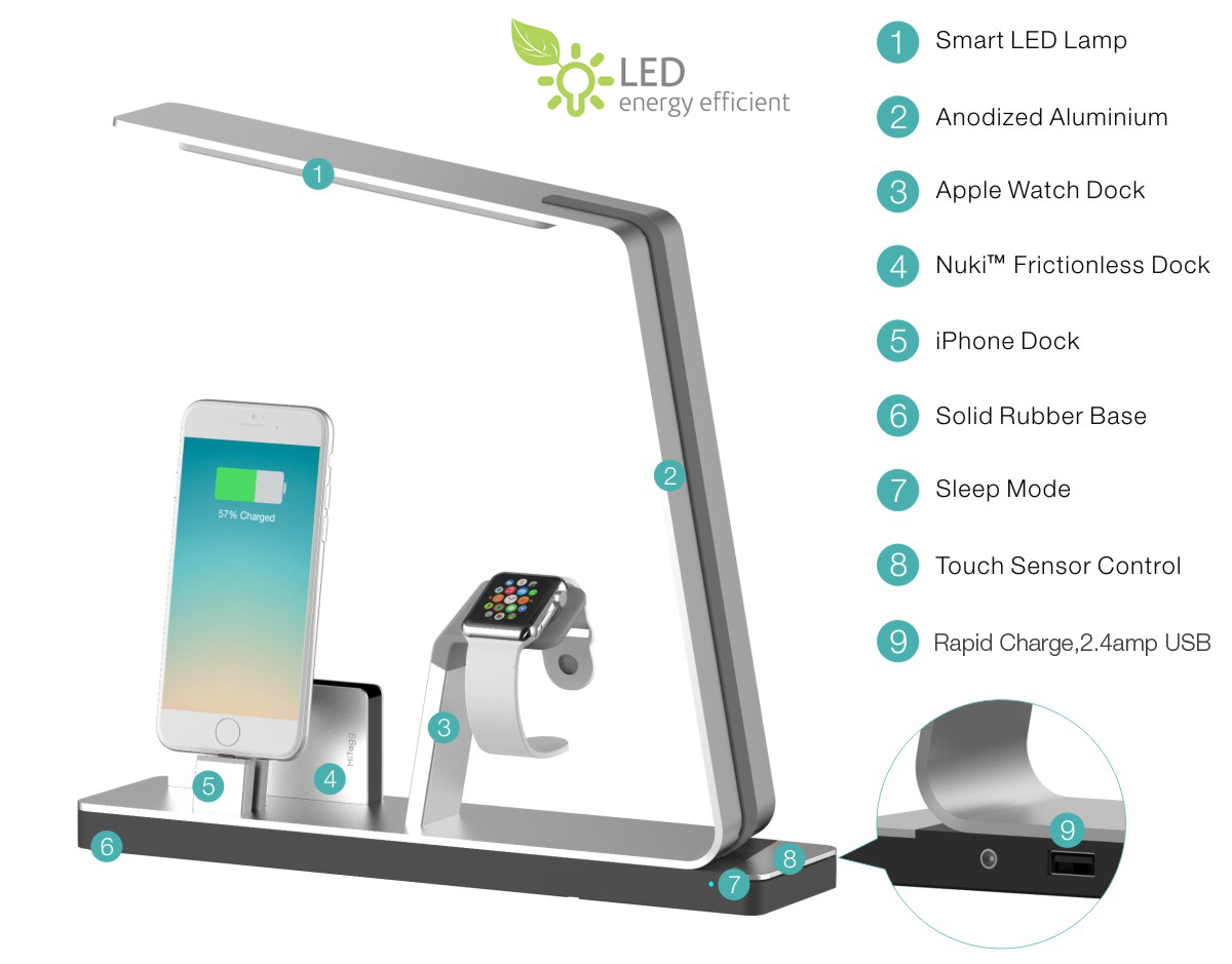 Nudock Apple Watch Iphone Power Station Lamp Indiegogo