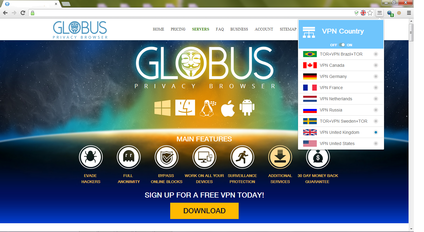Globus Privacy Browser Screen shot