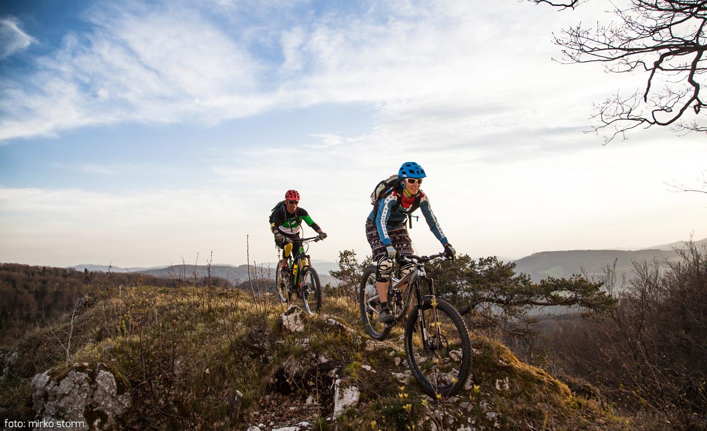 Happy mountain biking