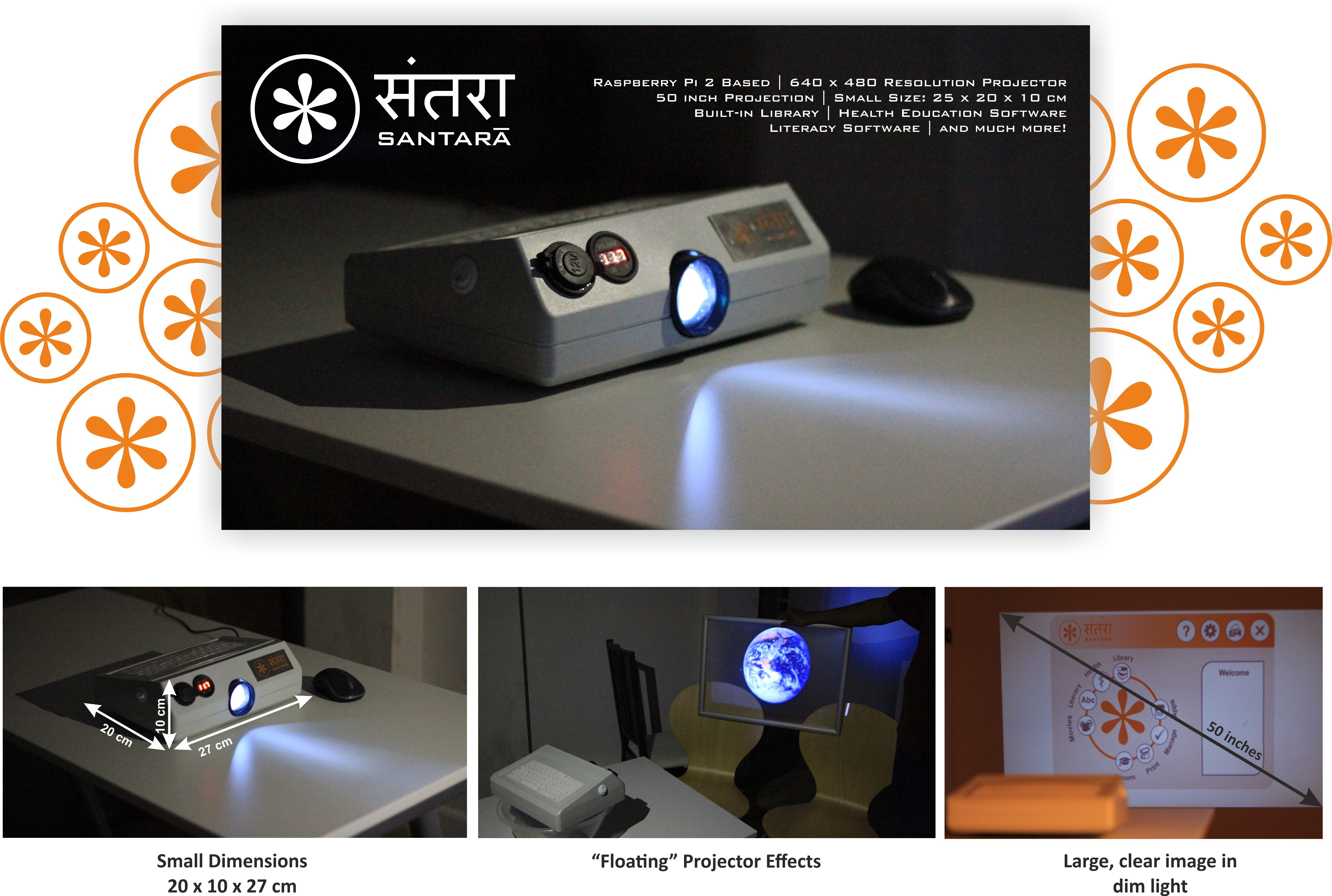 Santara Computer 100 To Educate The World Indiegogo We Have A New Is Revolutionary Based On Rasberry Pi 2 Platform Developed Built In Mini Projector Which Can Project Large