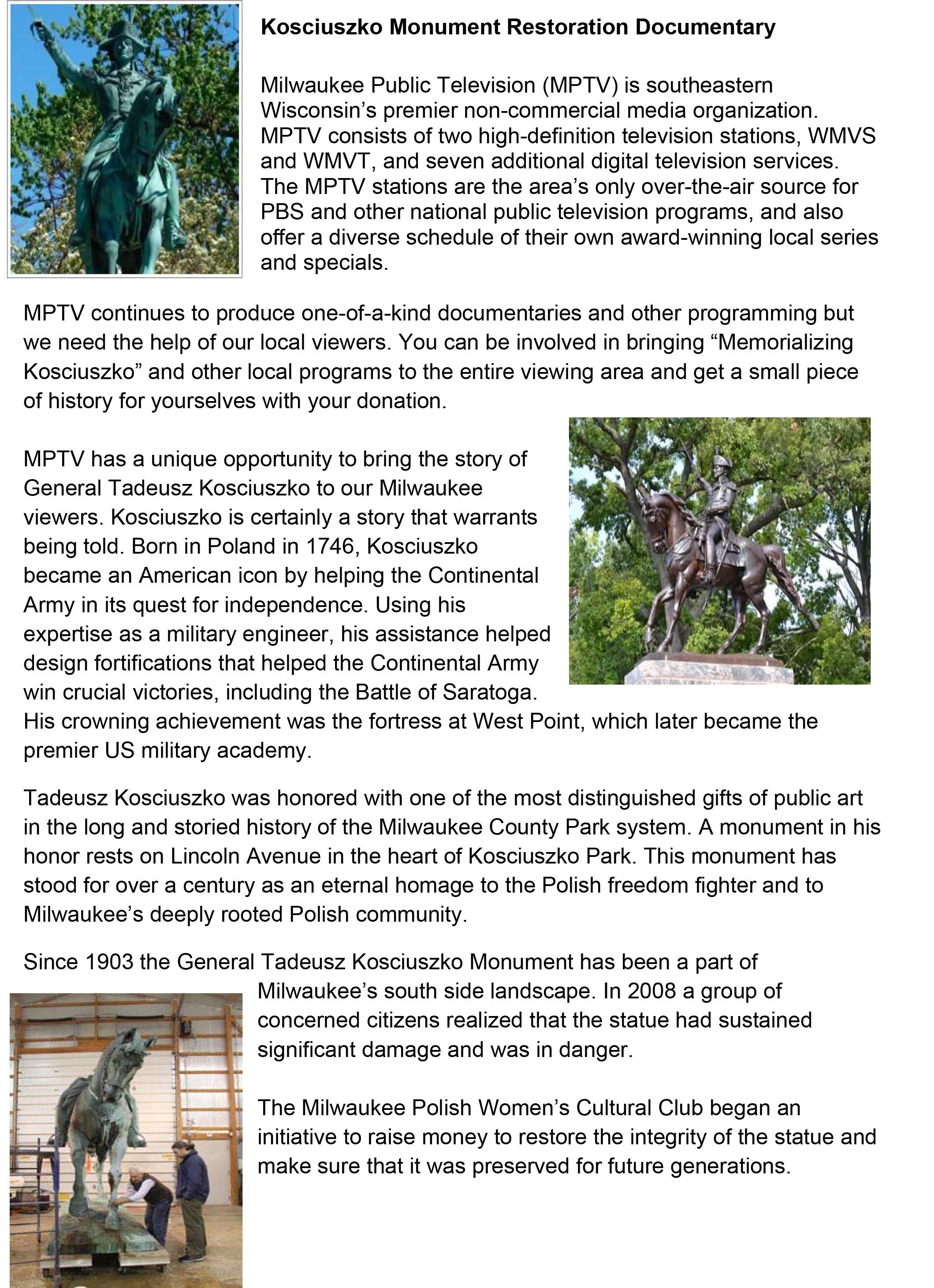 Kosciuszko Monument Restoration Documentary | Indiegogo