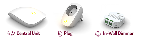 Brightup: Central unit, Plug, In-wall Dimmer