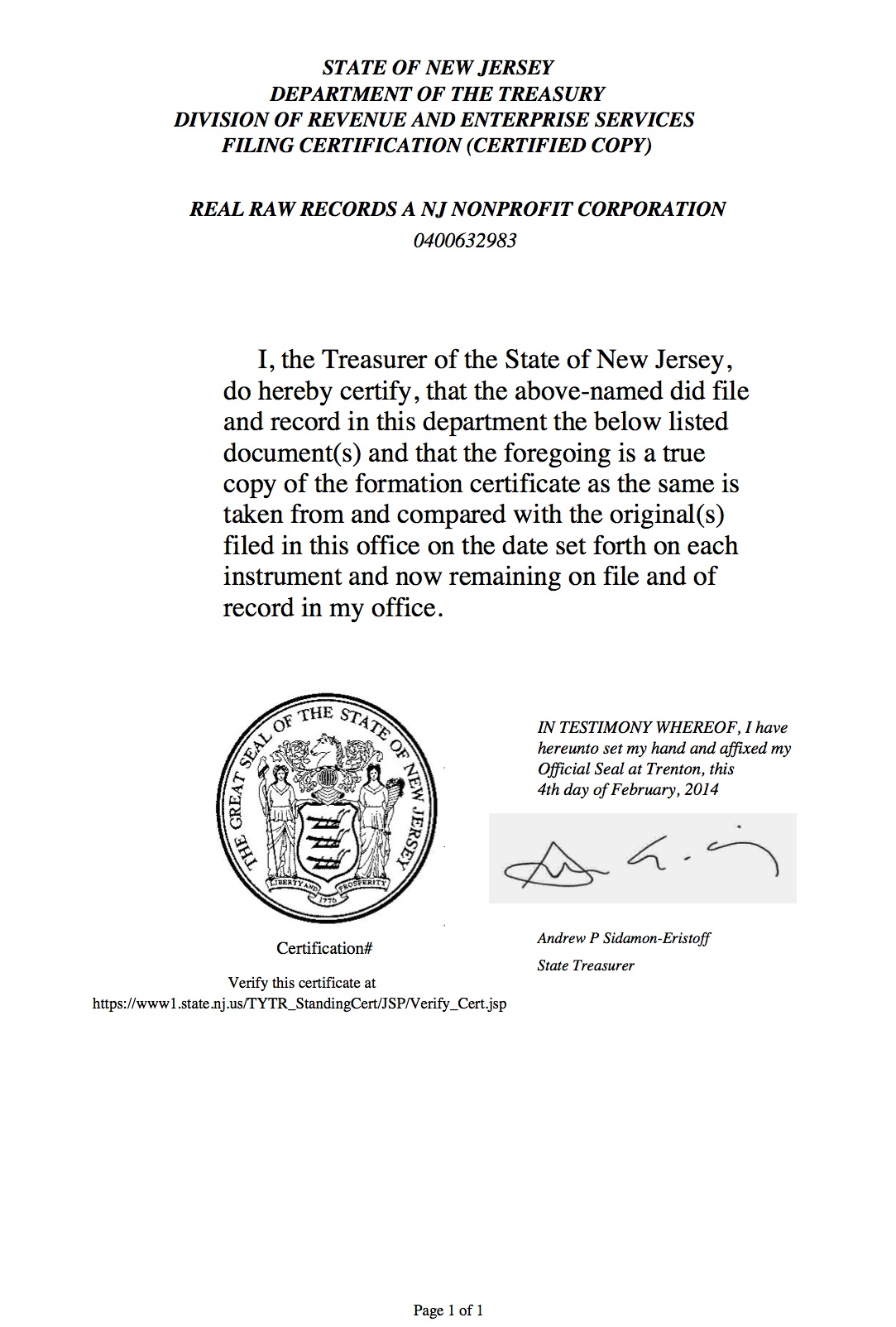 OFFICIAL CERTIFICATION OF STATE NONPROFIT STATUS