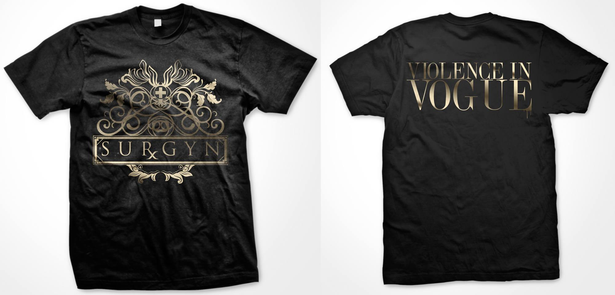 Black t shirt with gold design -  Violence In Vogue T Shirt Campaign Exclusive Design