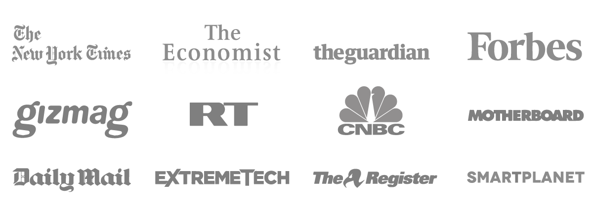Logos of the companies that have commented. The companies are: New York Times, The Economist, The Guardian, Forbes, Gizmag, RT, CNBC, Motherboard, Daily Mail, ExtremeTech, The Register, SmartPlanet
