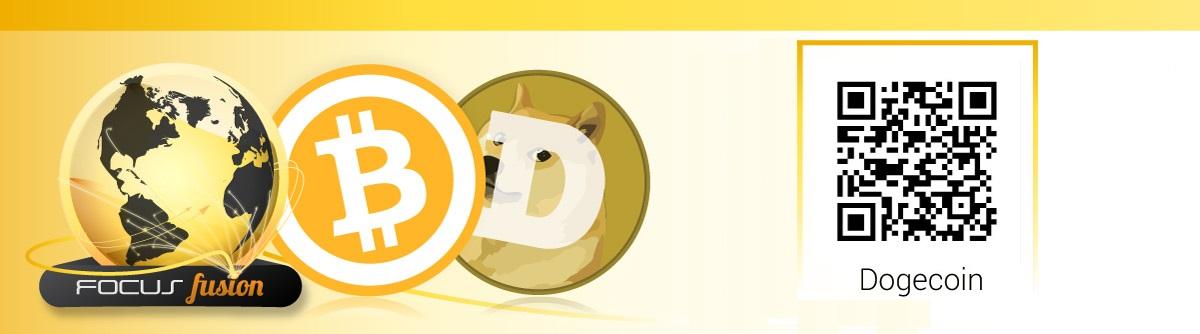 Focus Fusion Logo, Bitcoin Logo, Dogecoin Logo