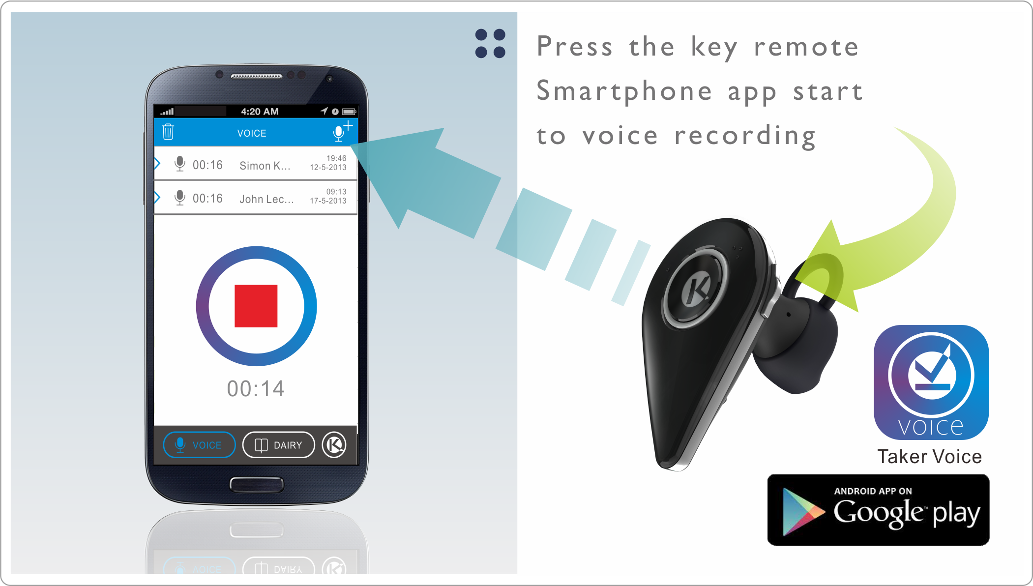 taker bluetooth headset with voice recording app indiegogo. Black Bedroom Furniture Sets. Home Design Ideas