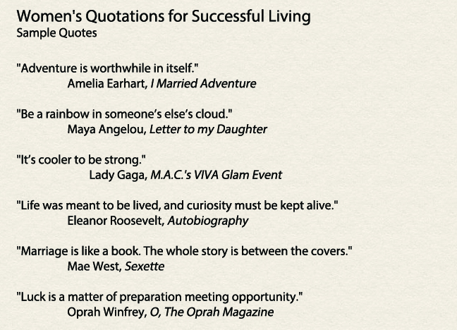 Women S Quotations For Successful Living New Book Indiegogo