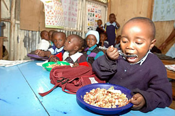 Feed A ChildHappy African Children With Food