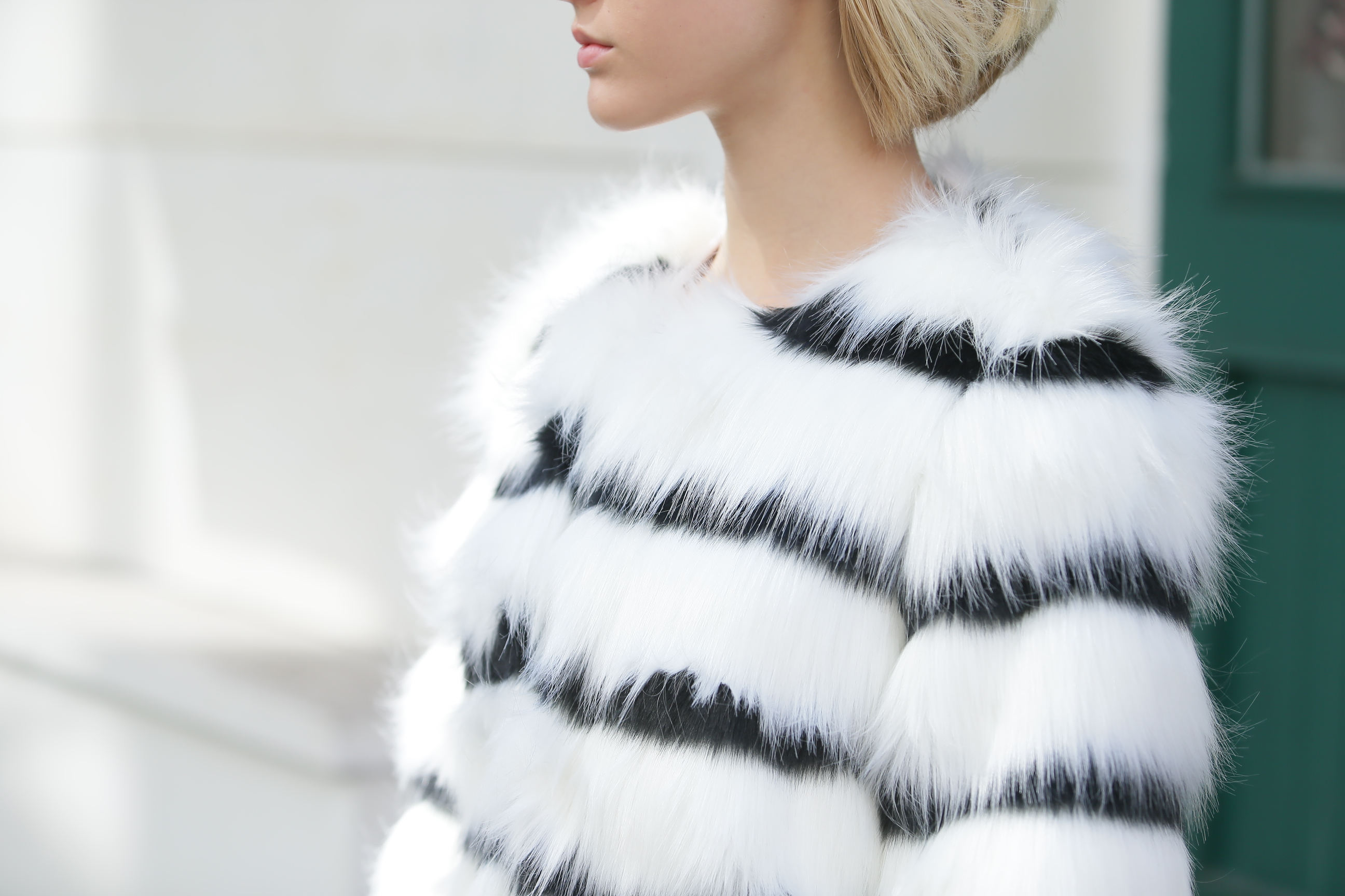 184eb9148c Black And White Striped Faux Fur Coat Shein Sheinside