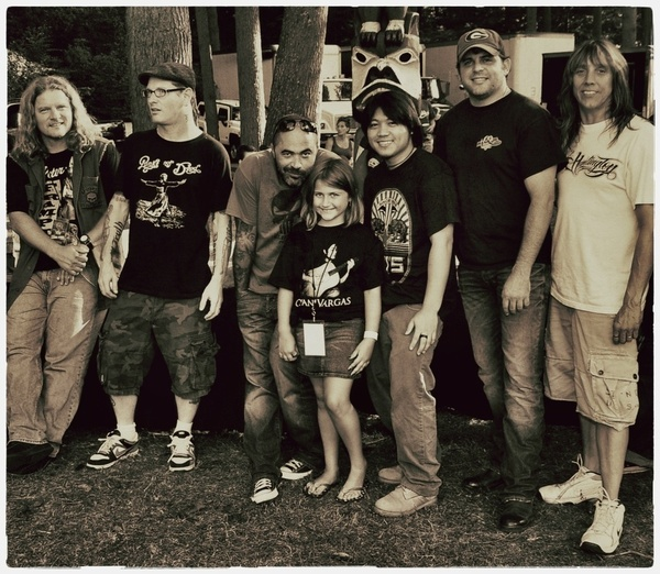from left Frank Hannon of Tesla, Corey Taylor of Slipknot/Stone Sour, Aaron Lewis of Staind, Otan Vargas, Rhett Akins, Jeff Keith of Tesla.