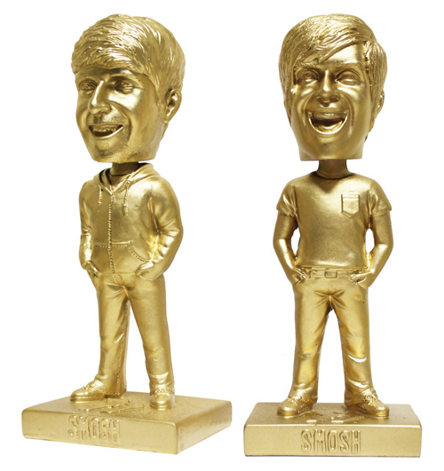 Gold-colored bobbleheads