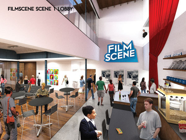 An early rendering of the Scene 1 lobby space
